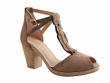 SAND1341 GO471 ROSE METAL:TAUPE/DESSUS CUIR/BOTTY SELECTION Femmes